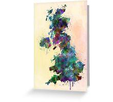 United Kingdom map watercolor style splash Greeting Card