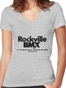RBMX-Old School-BLACK Women's Fitted V-Neck T-Shirt