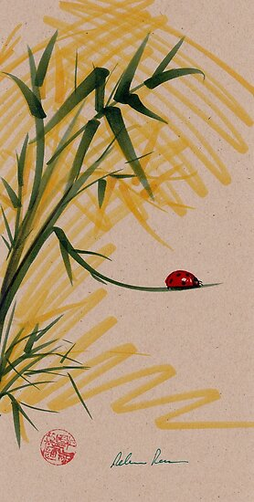"""""""Take A Chance""""  Sumi-e Ink Brush Pen Ladybug Painting by Rebecca Rees"""