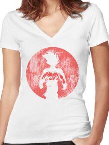 saiyan moonlight Women's Fitted V-Neck T-Shirt