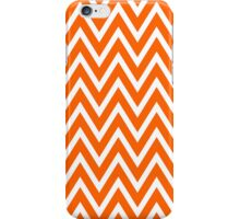 Chevrons, Zigzag Background Orange, White iPhone Case/Skin
