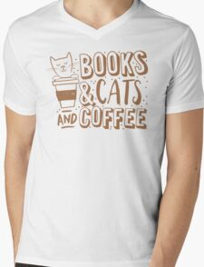 BOOKS and CATS and COFFEE T-Shirt