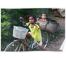 Taking A Ride In A Basket Poster