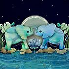 Lotus Flower Elephants Ocean Blue and Sea Green by © Cassidy (Karin) Taylor