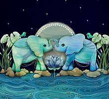 Lotus Flower Elephants Ocean Blue and Sea Green by © Karin (Cassidy) Taylor