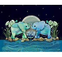Lotus Flower Elephants Ocean Blue and Sea Green Photographic Print