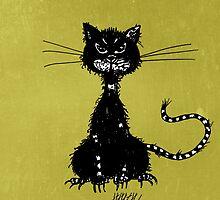 Olive Green Grunge Ragged Evil Black Cat Case by Boriana Giormova
