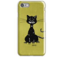 Olive Green Grunge Ragged Evil Black Cat Case iPhone Case/Skin