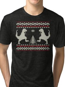 Ugly Christmas Dinosaurs Tri-blend T-Shirt