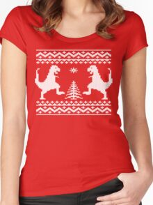 Ugly Christmas Dinosaurs Women's Fitted Scoop T-Shirt