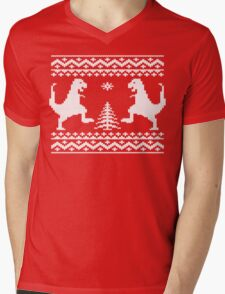 Ugly Christmas Dinosaurs Mens V-Neck T-Shirt