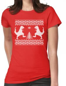 Ugly Christmas Dinosaurs Womens Fitted T-Shirt
