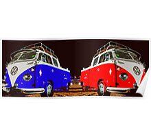 Volkswagen Combi Duo Blue & Red  Poster