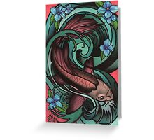 fish in water, with flowers. Greeting Card