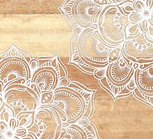 White Doodles on Blonde Wood by micklyn