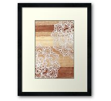 White Doodles on Blonde Wood Framed Print