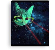 Laser Eyes Space Cat T-Shirt Canvas Print