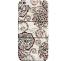 Coffee & Cocoa - brown & cream floral doodles on wood iPhone Case/Skin