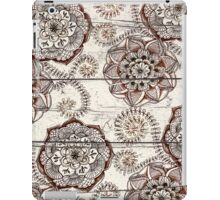 Coffee & Cocoa - brown & cream floral doodles on wood iPad Case/Skin