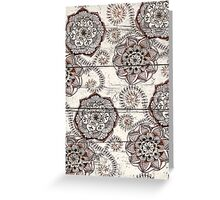 Coffee & Cocoa - brown & cream floral doodles on wood Greeting Card
