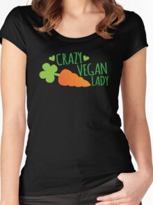 CRAZY VEGAN LADY Women's Fitted Scoop T-Shirt