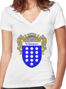 Velasquez  Coat of Arms/Family Crest Women's Fitted V-Neck T-Shirt