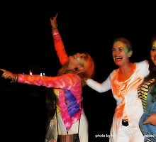 Debra at Holi Festival with neice and friend  by Debra Kurs