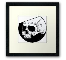Graphic round white skull Framed Print