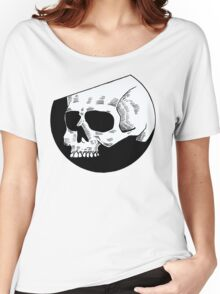 Graphic round white skull Women's Relaxed Fit T-Shirt