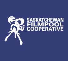 Saskatchewan Filmpool Cooperative logo over the heart 1 - white by SaskFilmpool