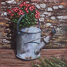 Old watering can with flowers by stone wall by martyee