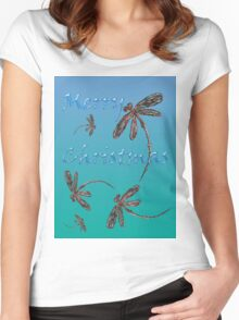 Merry Christmas Dragonflies  Women's Fitted Scoop T-Shirt