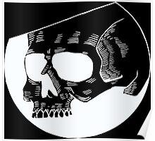 Graphic round black skull Poster