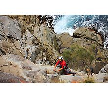 Rock Climber at White Water Wall, Tasmania Photographic Print