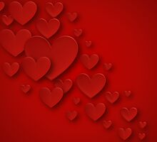 Red Three Dimensional Cascading Hearts by RumourHasIt