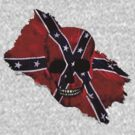Patriotic Rebel Flag Skull by Val  Brackenridge