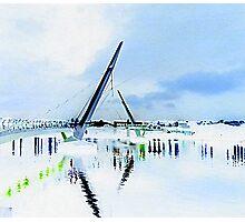 Lumiere Peace Bridge Meets Snow........An Impression Photographic Print