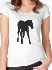 Baby Horse, Silhouette, Horse, Foal, Drawing Women's Fitted Scoop T-Shirt