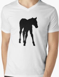 Baby Horse, Silhouette, Horse, Foal, Drawing Mens V-Neck T-Shirt