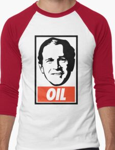 George W. Bush OIL - OBEY Parody Men's Baseball ¾ T-Shirt