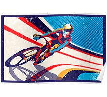 retro track cycling print poster Poster