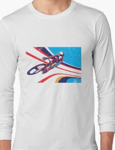retro track cycling print poster Long Sleeve T-Shirt