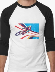retro track cycling print poster Men's Baseball ¾ T-Shirt