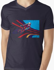 retro track cycling print poster Mens V-Neck T-Shirt