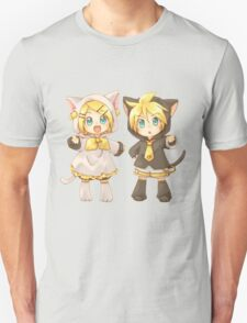Cute Kagamine Rin and Len Neko Chibi T-Shirt