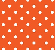 Polka Dots Orange White by roughcollie5