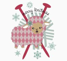 argyle sheep knitting needles yarn Christmas card Kids Clothes