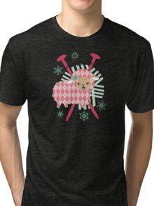 argyle sheep knitting needles yarn Christmas card Tri-blend T-Shirt