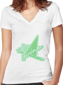 Fauna Symbol & Signature Women's Fitted V-Neck T-Shirt