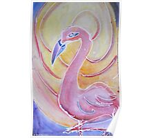Retro Pink Flamingo Poster